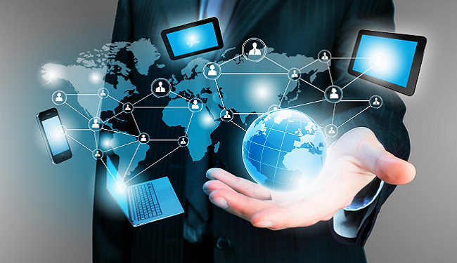 Hand showing digital communication
